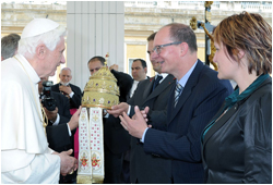 Dieter and Milka presenting the Tiara (Made by Liturgix) to Pope Benedict XVI in the Vatican on May 25, 2011
